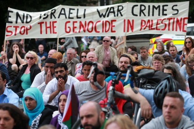 Pro-Gaza protest at Israeli Embassy. M