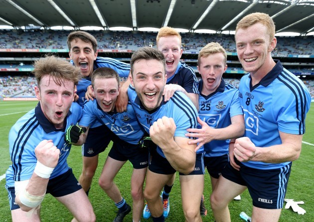 Dublin players celebrate after the game