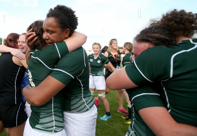 Lynne Cantwell and Sophie Spence celebrate after the game
