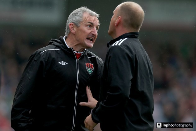 John Caulfiled argues with fourth official Graham Kelly