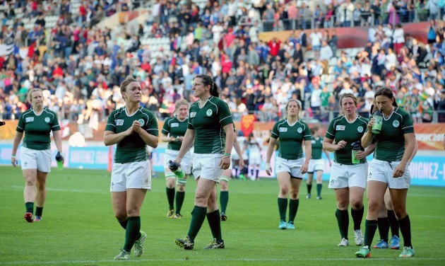 Dejected Ireland team after the game