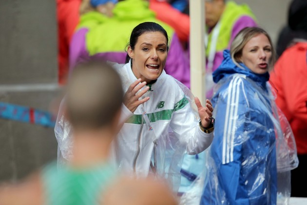 Rob Heffernan is encouraged by his coach Marian Heffernan