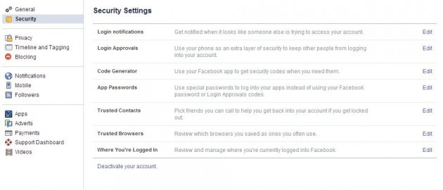 Security settings FB
