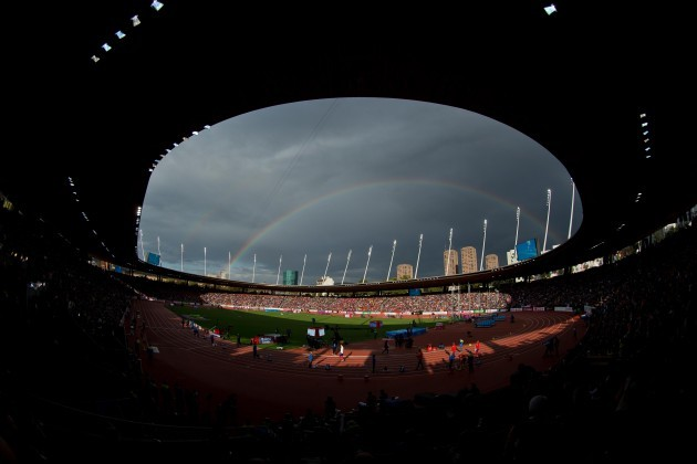 A general view of the Letzigrund Stadium as the athletes prepare for the Men's 400m Final