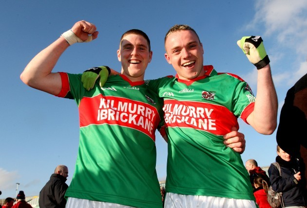 Stephen Moloney and Ian McInerney celebrate at the final whistle 21/2/2010