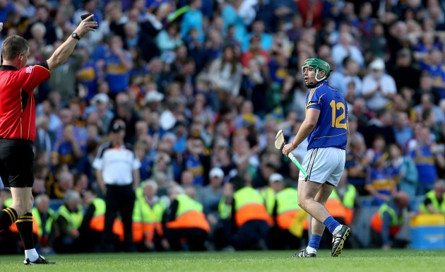 John OÕDwyer gestures to the referee Barry Kelly for calling the hawk eye system into play