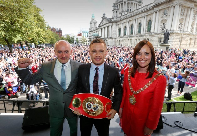 Barry McGuigan, Carl Frampton and Nichola Mallon 9/9/2014