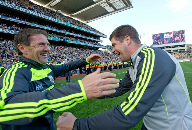 Eamonn Fitzmaurice celebrates with Jack O'Connor