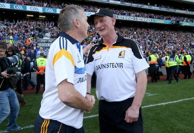 Brian Cody with Eamon O'Shea after the game