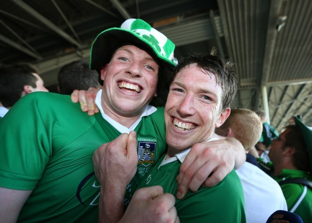 Limerick's Shane Dowling and Seamus Hickey celebrate after the game