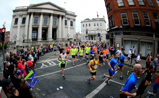 A view of competitors as they pass City Hall