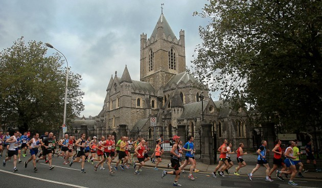 A view of competitors as they pass Christchurch Cathedral