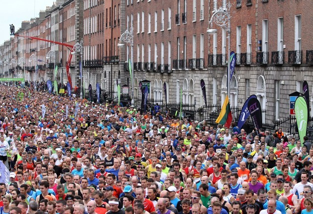 General view of Dublin Marathon as it makes its way down Fitzwilliam Place