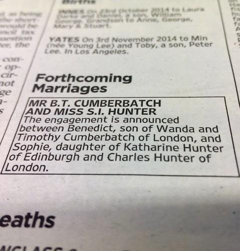 Cumberbatch engagement