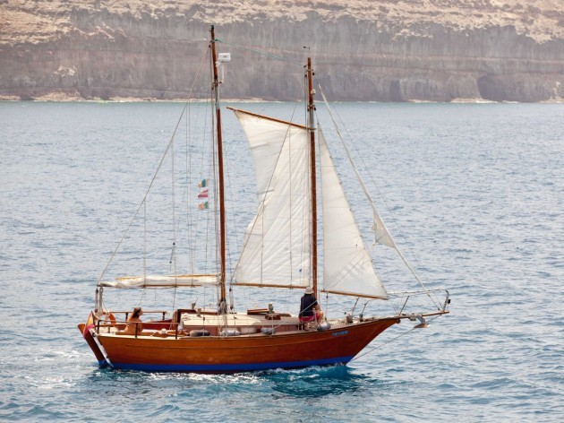 Cruise The Canary Islands On This Mahogany And Teak Sailboat