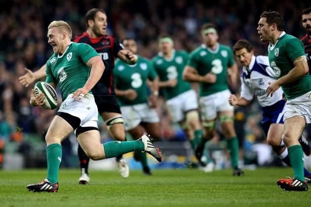 Stuart Olding breaks free to score his side's sixth try