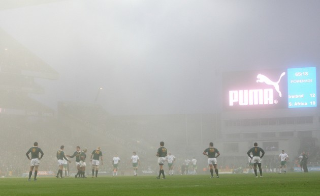 Fog over Croke Park during the game