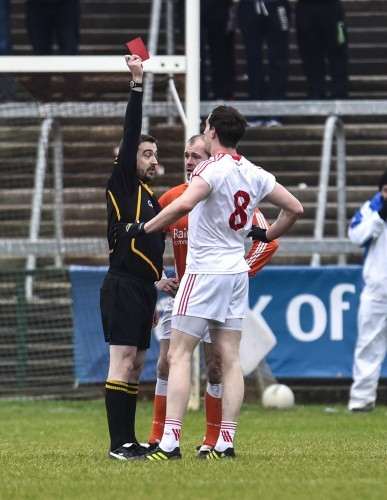 Colm Cavannagh and Ciaran McKeever are both sent off