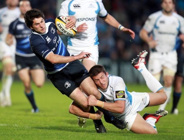 Ian McKinley tackled by DTH van der Merwe