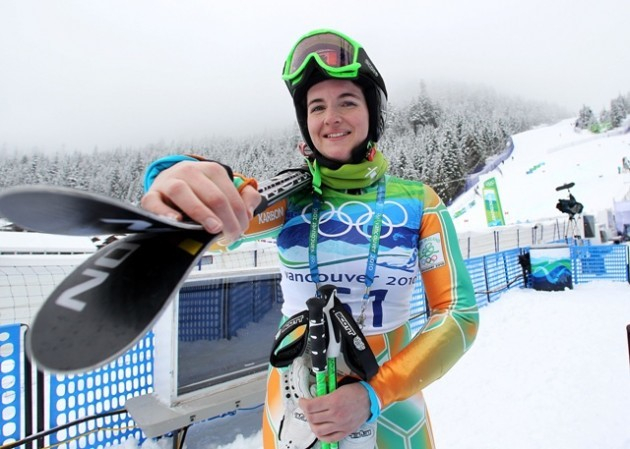 24th February 2010 Mandatory Credit - Photo-William Cherry 2010 Vancouver Winter Olympics Ireland's Kirsten McGarry pictured after the finish of her first run in the Ladies' Giant Slalom at Whistler Creekside in the 2010 Vancouver Winter Olympics.