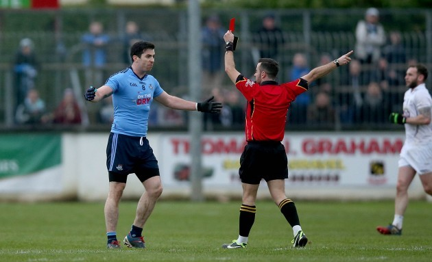 Michael Dara MacAuley is sent off by David Gough