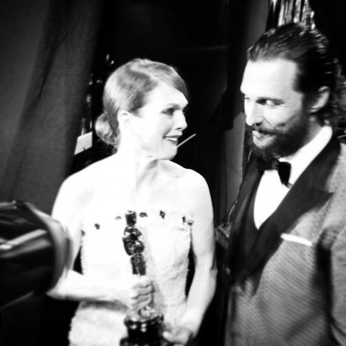 Backstage after her win #oscars