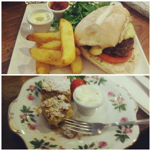 Lunch in avoca  #lunch #burger #chips #dessert #tart
