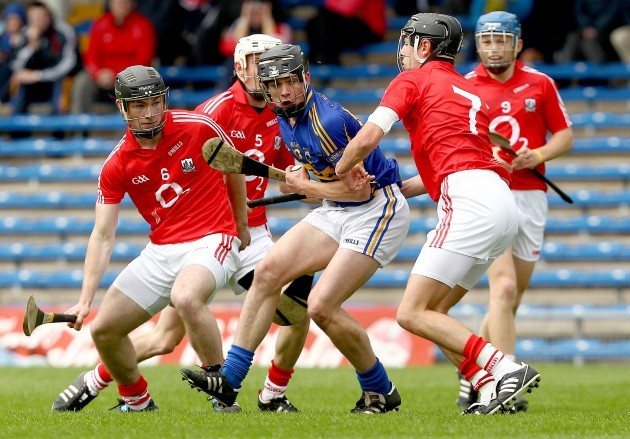 Conor Hammersley watched by Colm Spillane, Cormac Walsh, Kilian Burke and Killian McIntyre
