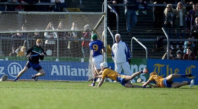 James Woodlock scores his side's second goal