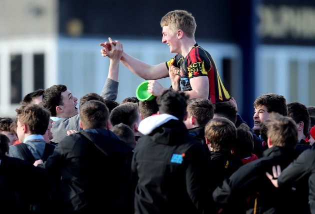 Conor Fitzgerald celebrates after kicking a penalty to win the game