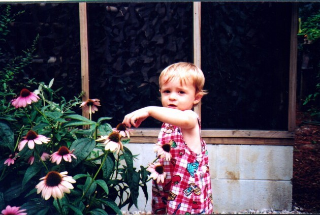 toddler with plant