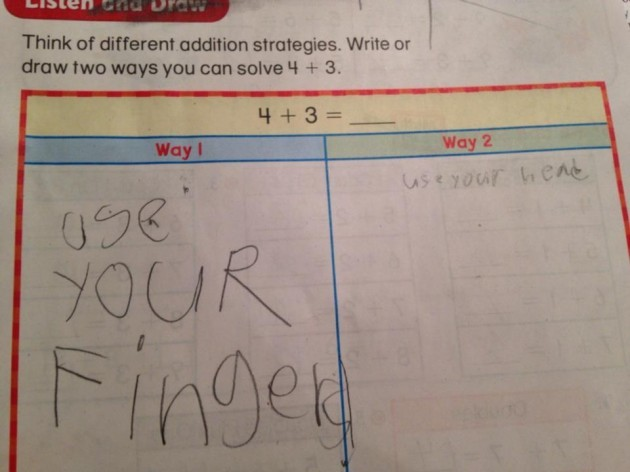 My kid's math homework