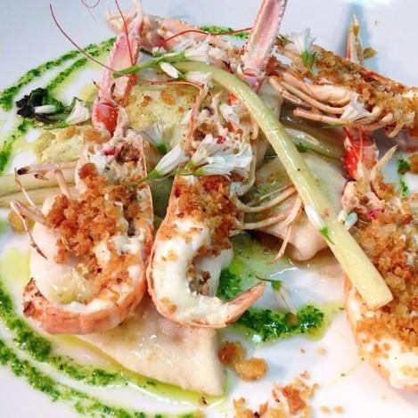 Ways with prawns... With tarragon, roasted garlic, sea kale and pangratatto. #seafood #feedfeed #irishlife #westcork #wildatlanticway #deasys