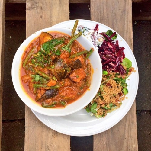 Today's tomato black mustard seed pumpkin & baked tofu stew with salad in the sunshine - wahoo