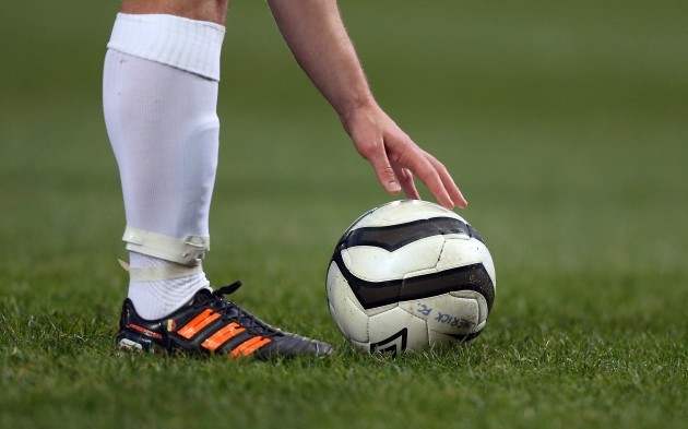 General view of a ball being placed for a free kick