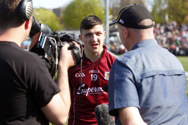 Damien Comer is interviewed after the game