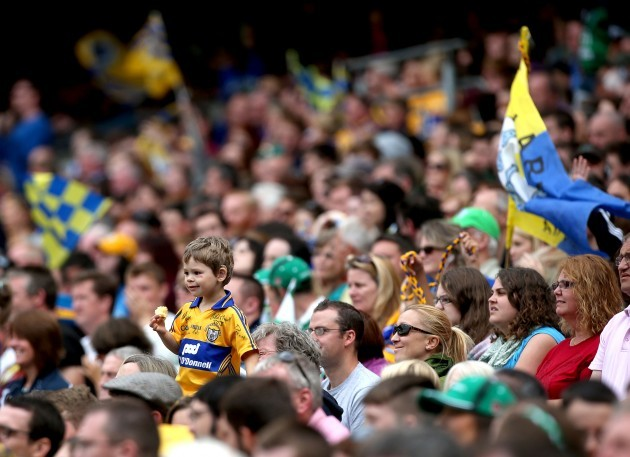 A young Clare fan looks on during the game