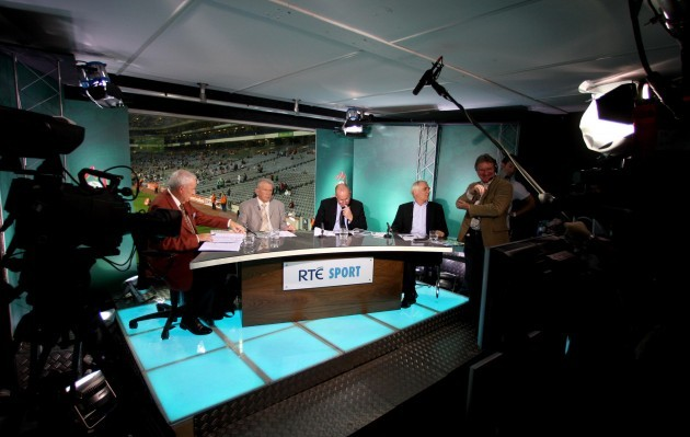 A view of the studio with from L-R: Bill O'Herlihy, Johnny Giles, Liam Brady and Eamon Dunphy