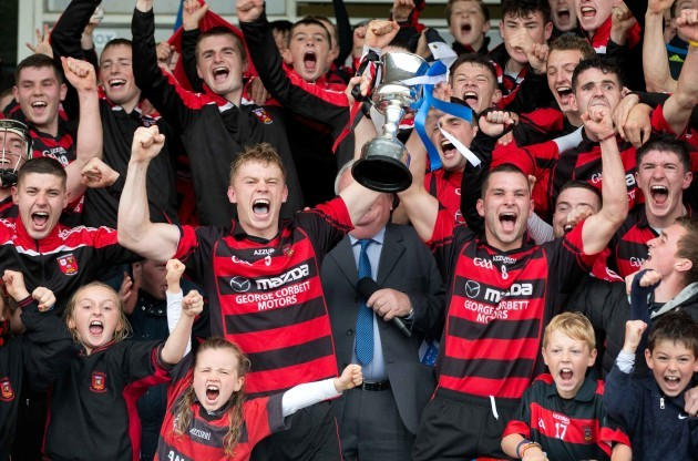 Phillip Mahony and Harley Barnes raise the trophy