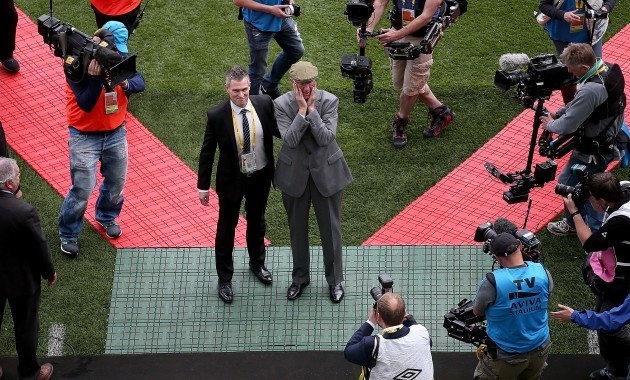 Jack Charlton is introduced to the crowd