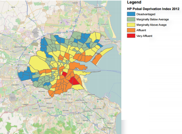 This map shows how dublin is a city divided thejournal the map below shows most of the wealth in dublin is concentrated on the south east coast the areas on the outskirts of the city marked in blue are the most publicscrutiny Choice Image