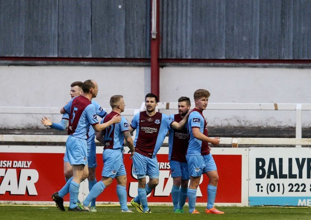 Llyod Buckley celebrates scoring the first goal
