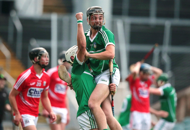 Limerick's Andrew La Touche Cosgrave and Colin Ryan celebrate the final whistle