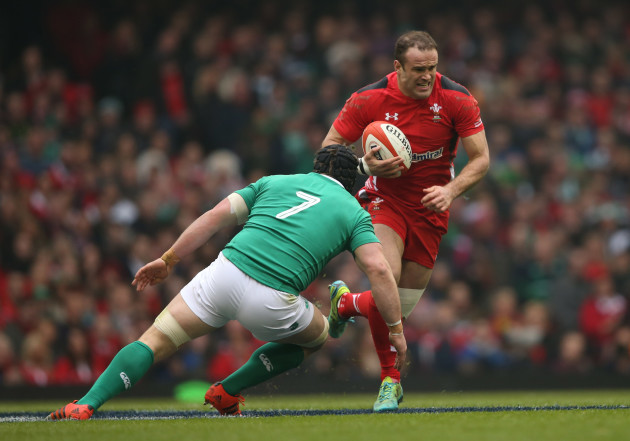 Wales Jamie Roberts is tackled by IrelandÕs Sean O'Brien