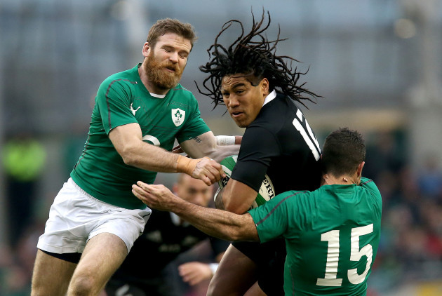 Gordon D'Arcy and Rob Kearney with Ma'a Nonu