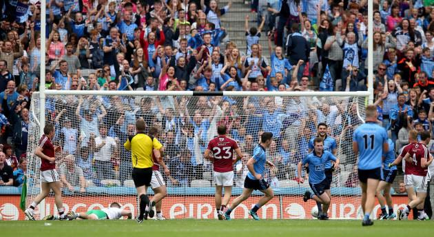 Jack McCaffrey celebrates scoring his side's second goal