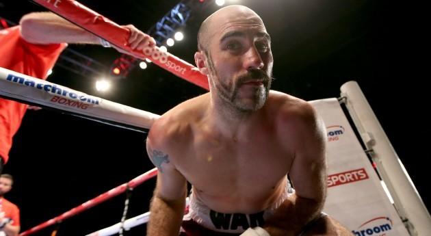Gary 'Spike' O'Sullivan celebrates as he leaves the ring after first round knockout