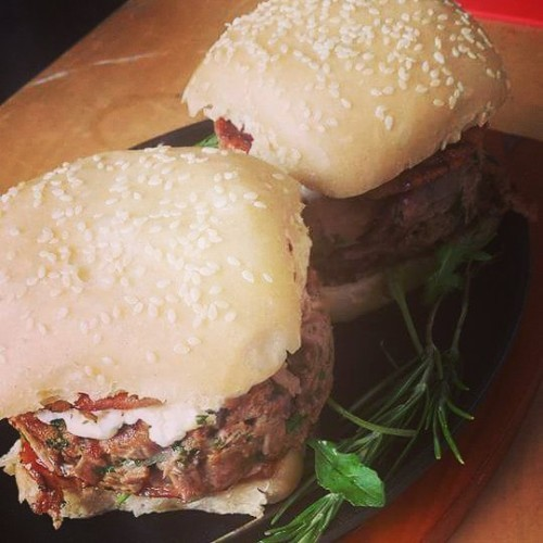 Yesterday's main achievement - duck burgers with goat's cheese, sweet chilli mustard sauce and sourdough bun #biggrill