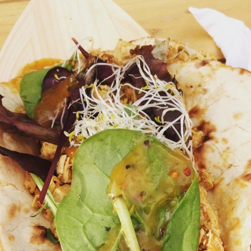 Being taken straight back to EP 2013 with this spicy chicken and mango naan bread glory! #memories #biggrill2015 #food