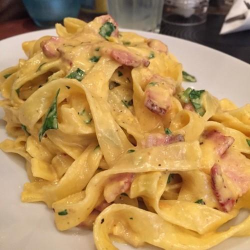 Tagliatelle Carbonara @ Cafe Citta, Cardiff, Wales, UK #foodlover #foodporn #foodgasm #foodie #food #foodblog #instafood #tagliatelle #carbonara #pasta #tagliatellecarbonara #italian #italianfood #delicious #bacon #pancetta #cafecitta #cardiff